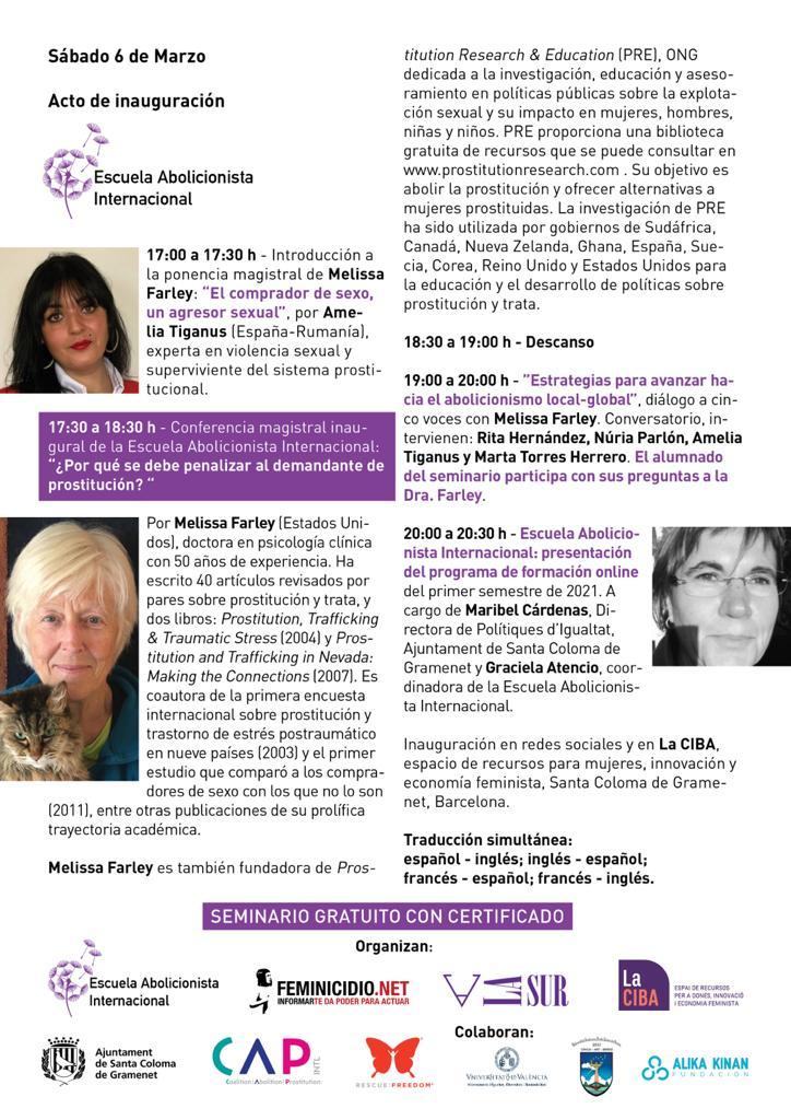 Panelista seminario internacional abolicionista