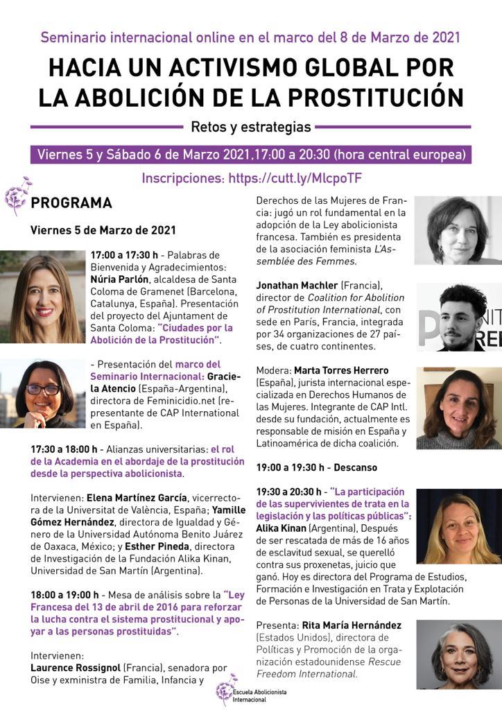 Panelistas del seminario internacional abolicionista